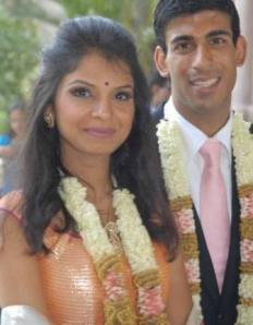 Bride Akshata, daughter of Infosys mentor N R Narayana Murthy with bridegroom Rishi