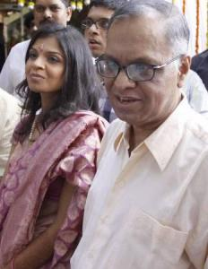 Infosys mentor N R Narayana Murthy with his daughter Akshata